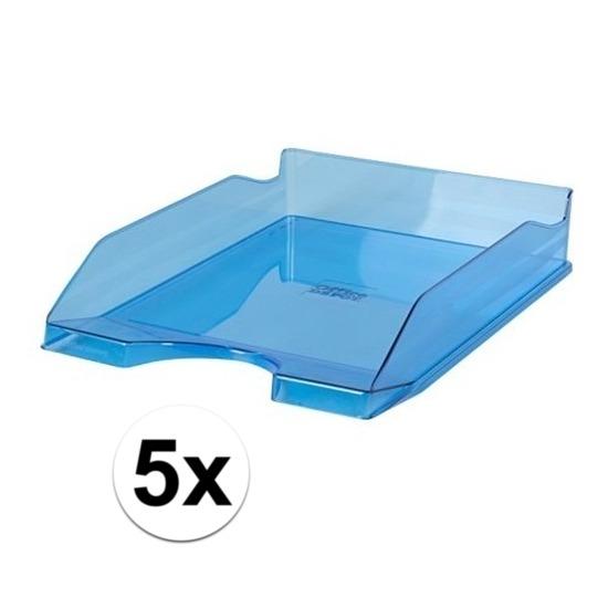 5 stuks postbakjeje transparant blauw a4 formaat