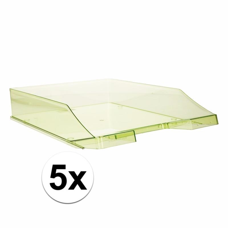Postbakjeje transparant groen a4 formaat 5 stuks