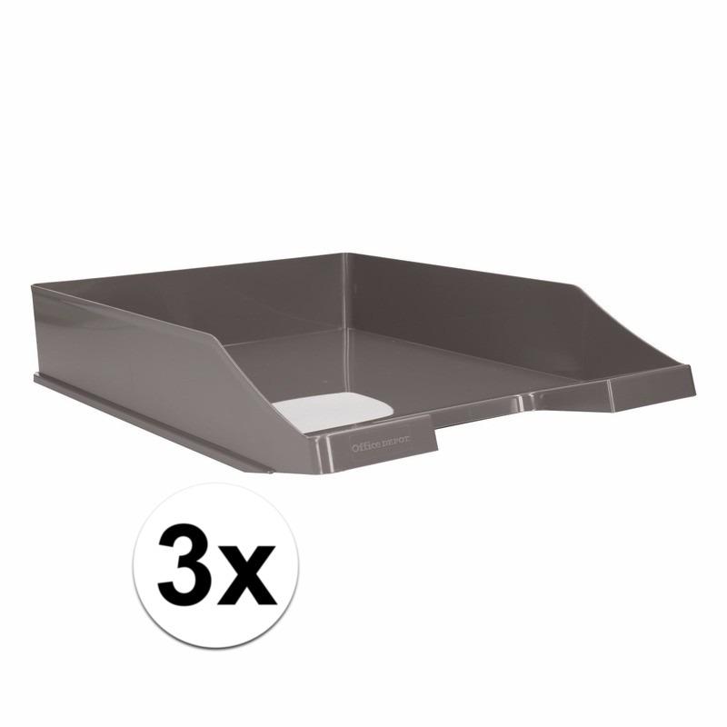Postbakjejes grijs a4 formaat 3 stuks