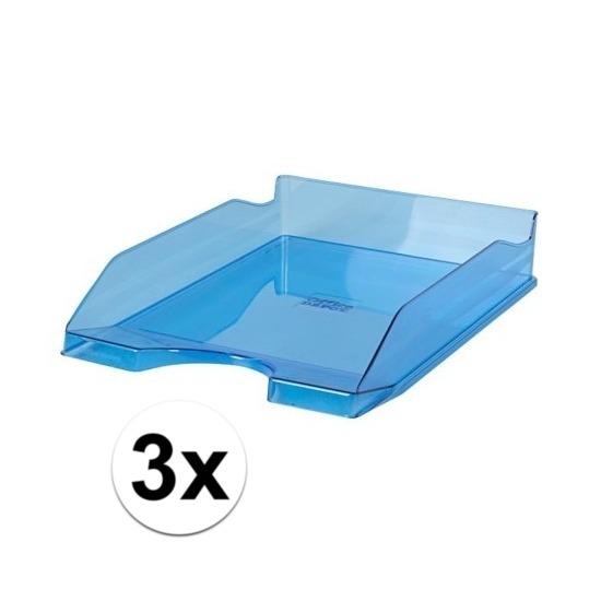 3 stuks postbakjejes transparant blauw a4 formaat