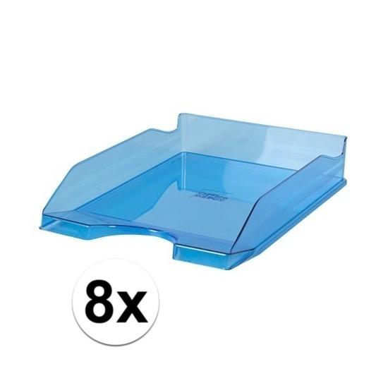 8 stuks postbakjejes transparant blauw a4 formaat
