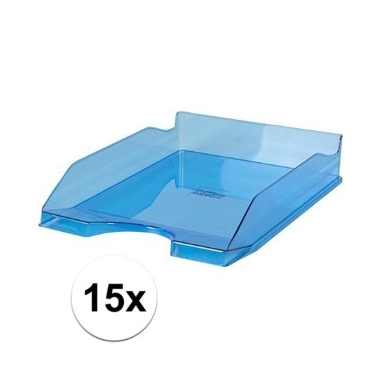 15 stuks postbakjejes transparant blauw a4 formaat