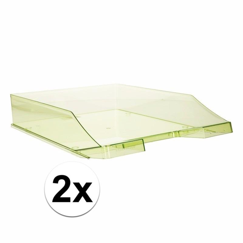 2 stuks postbakjejes transparant groen a4 formaat