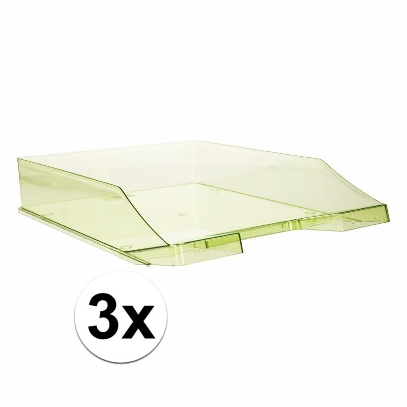 3 stuks postbakjejes transparant groen a4 formaat
