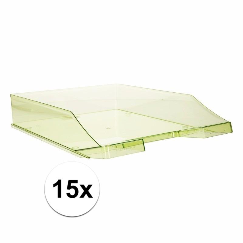 15 stuks postbakjejes transparant groen a4 formaat