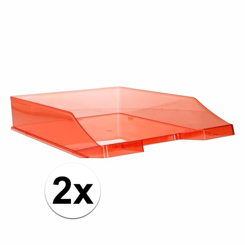 2 stuks postbakjejes transparant rood a4 formaat