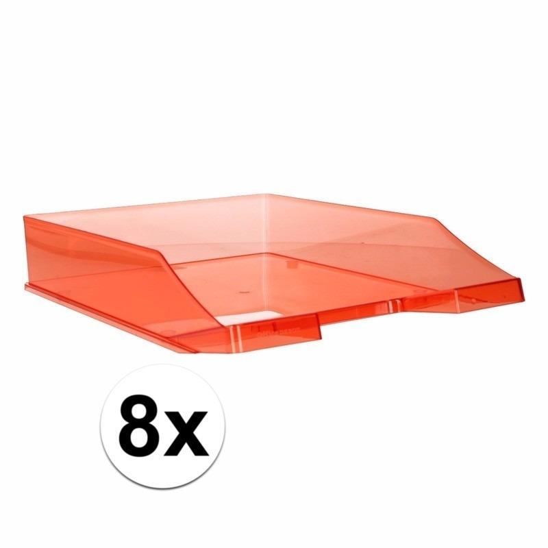 8 stuks postbakjejes transparant rood a4 formaat