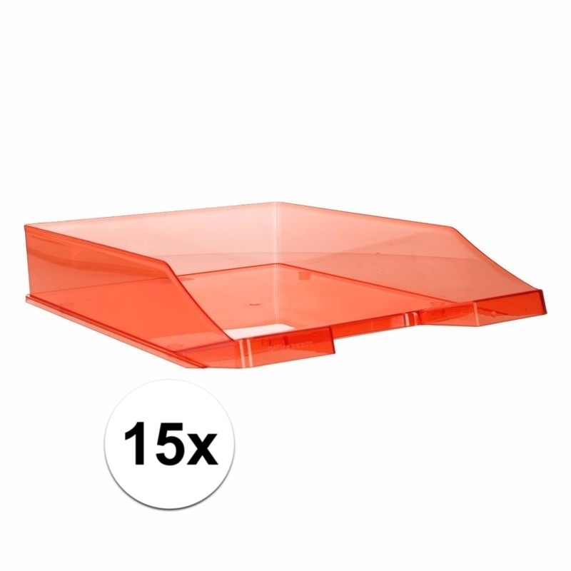 15 stuks postbakjejes transparant rood a4 formaat