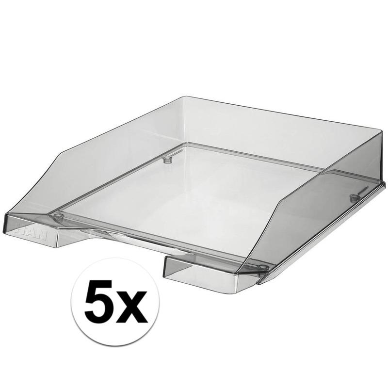 5 stuks postbakjejes transparant grijs a4 formaat han