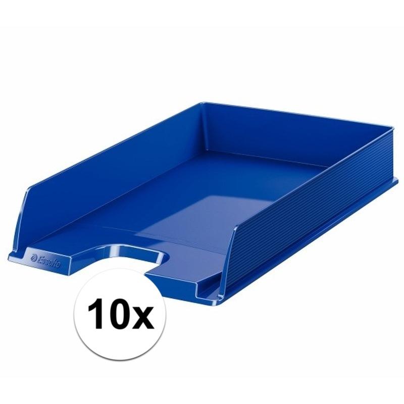 10 stuks postbakjejes blauw a4 formaat esselte