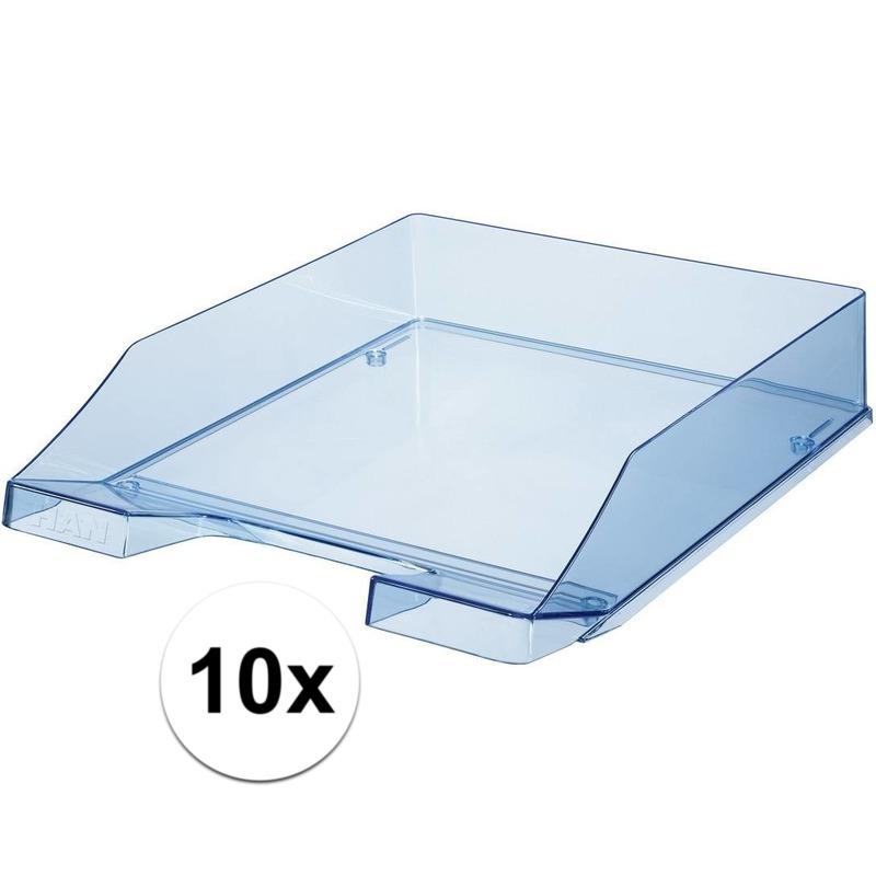 10 stuks postbakjejes transparant blauw a4 formaat han