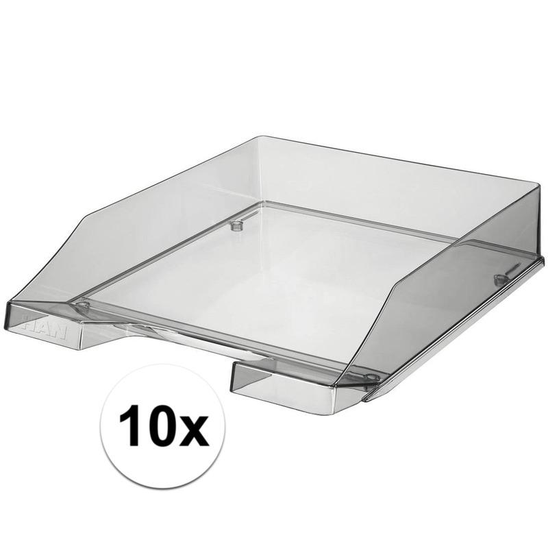 10 stuks postbakjejes transparant grijs a4 formaat han