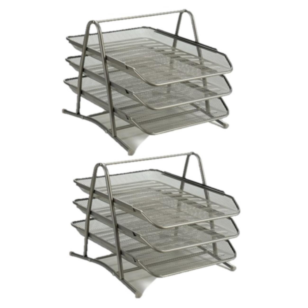 2x stuks postbakjejes postbakjes metaal grijs a4 formaat 10299675