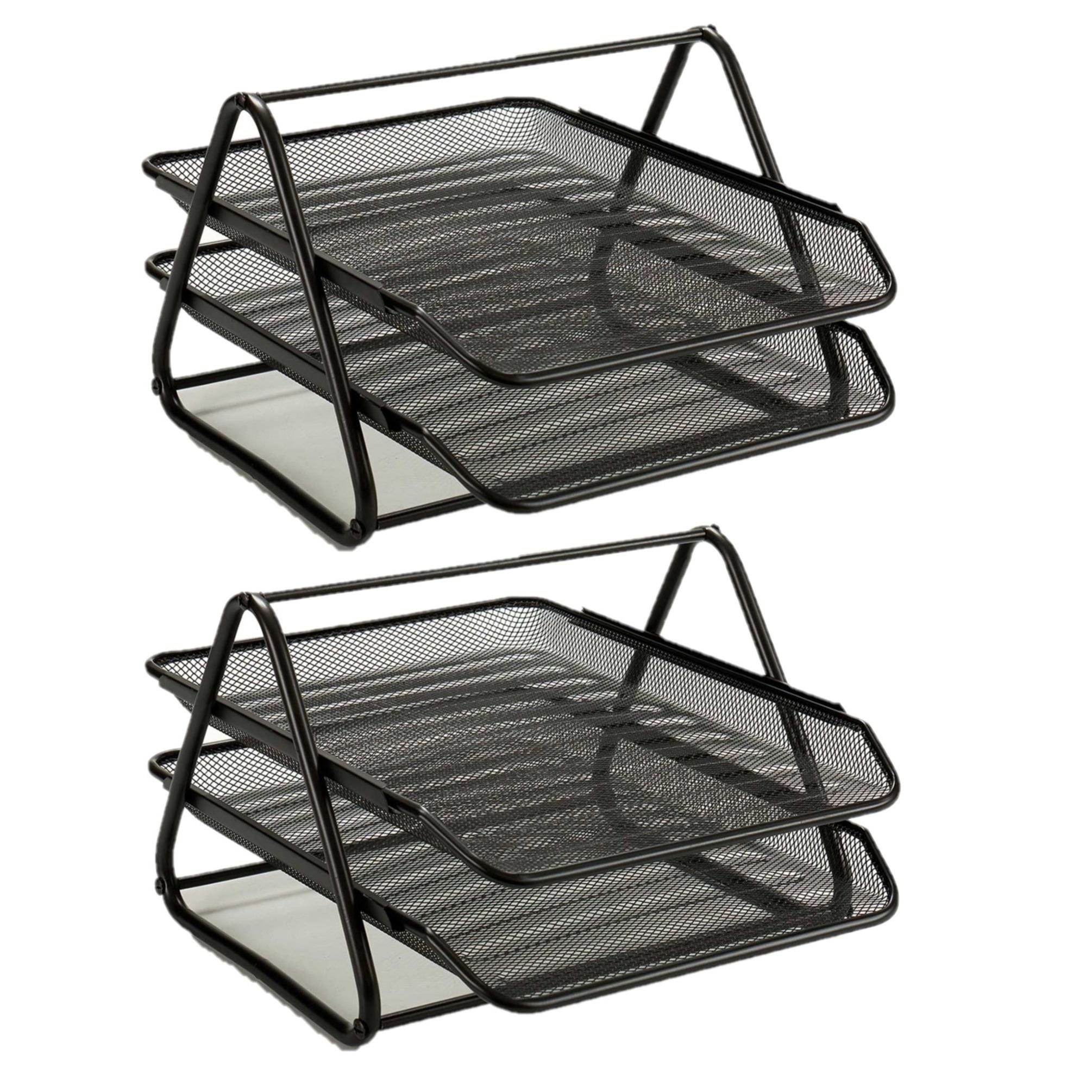 2x stuks postbakjejes postbakjes metaal zwart a4 formaat