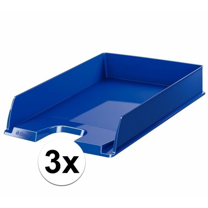 3 stuks postbakjejes blauw a4 formaat esselte