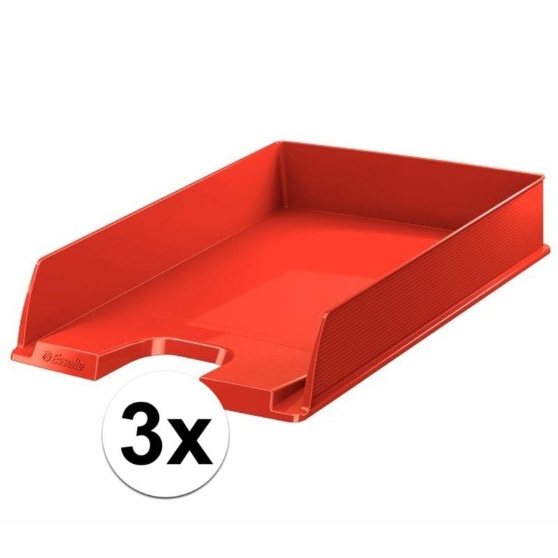 3 stuks postbakjejes rood a4 formaat esselte