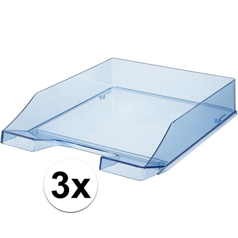 3 stuks postbakjejes transparant blauw a4 formaat han