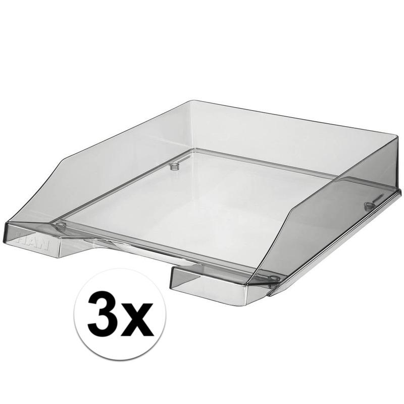 3 stuks postbakjejes transparant grijs a4 formaat han