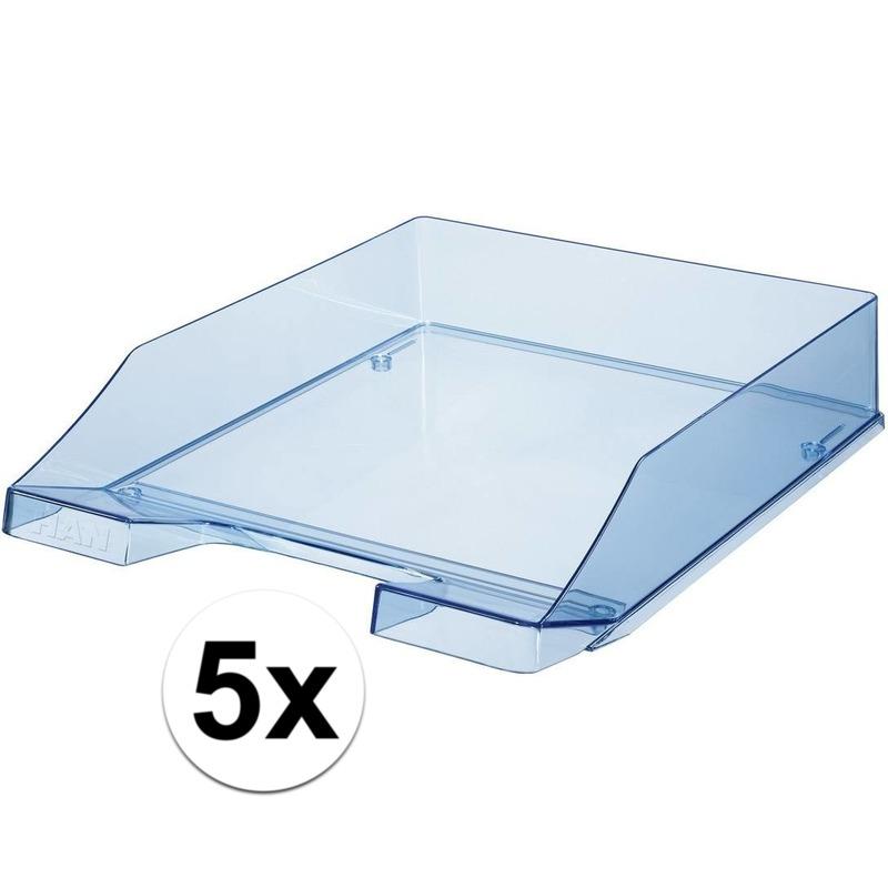 5 stuks postbakjejes transparant blauw a4 formaat han