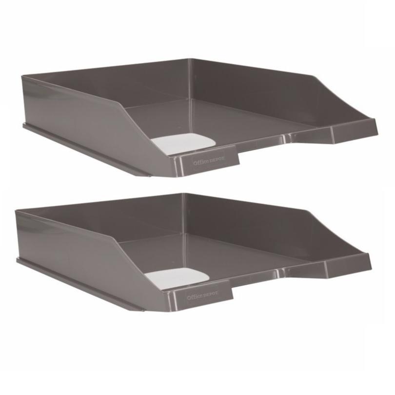5x stuks postbakjeje grijs a4 formaat kantoor postbakje van kunststof