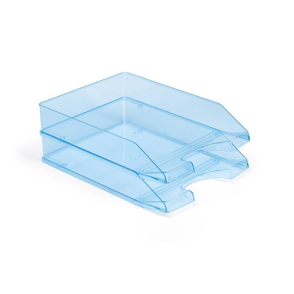 6x stuks postbakjejes transparant blauw a4 formaat