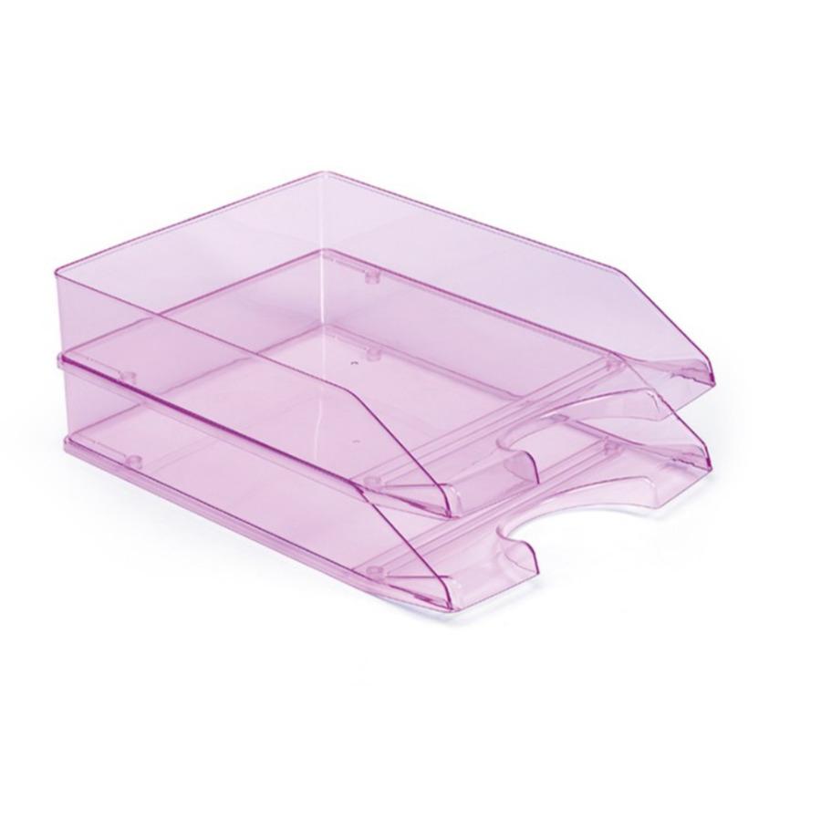 6x stuks postbakjejes transparant roze a4 formaat