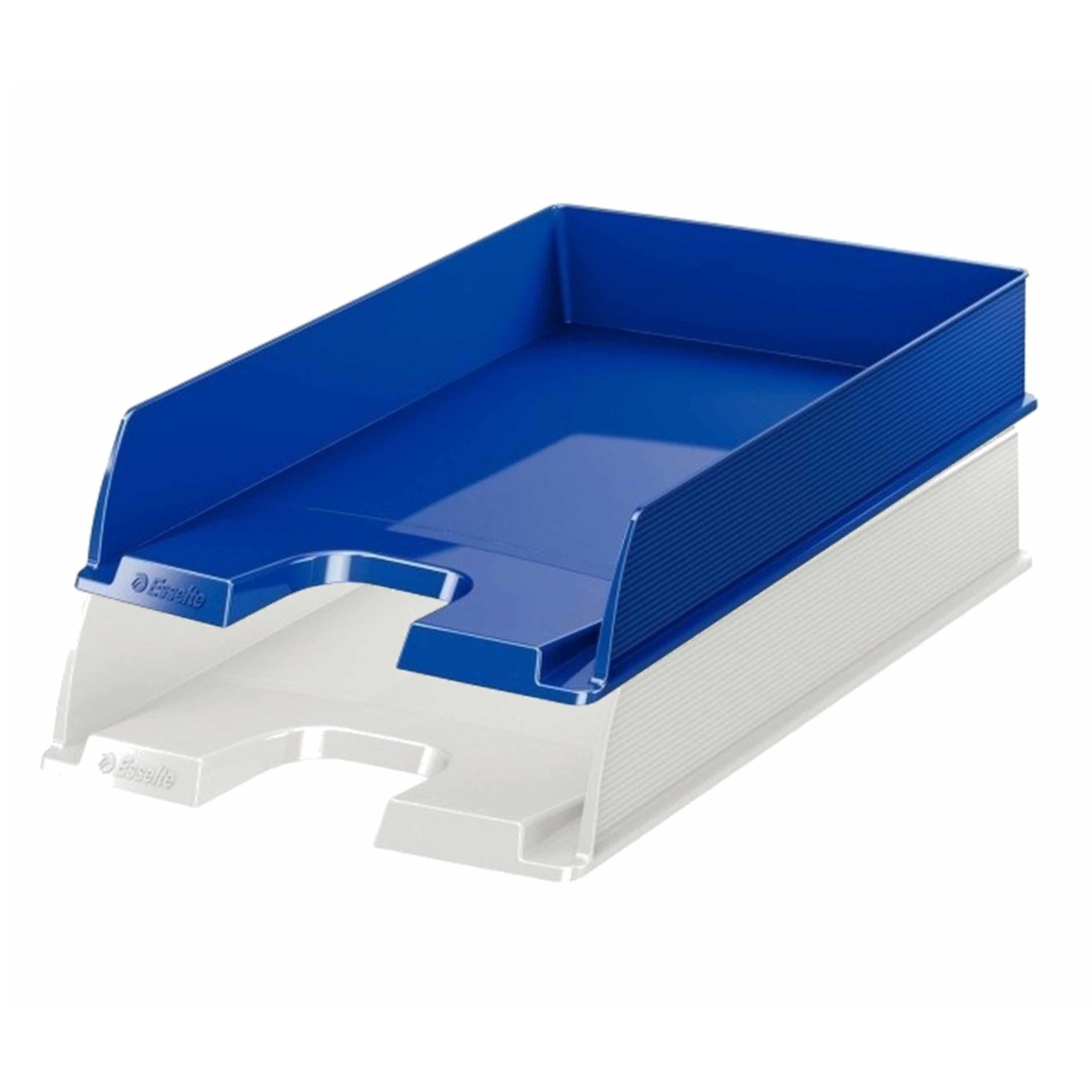 Esselte postbakjejes set van 4x blauw en 4x wit in a4 formaat
