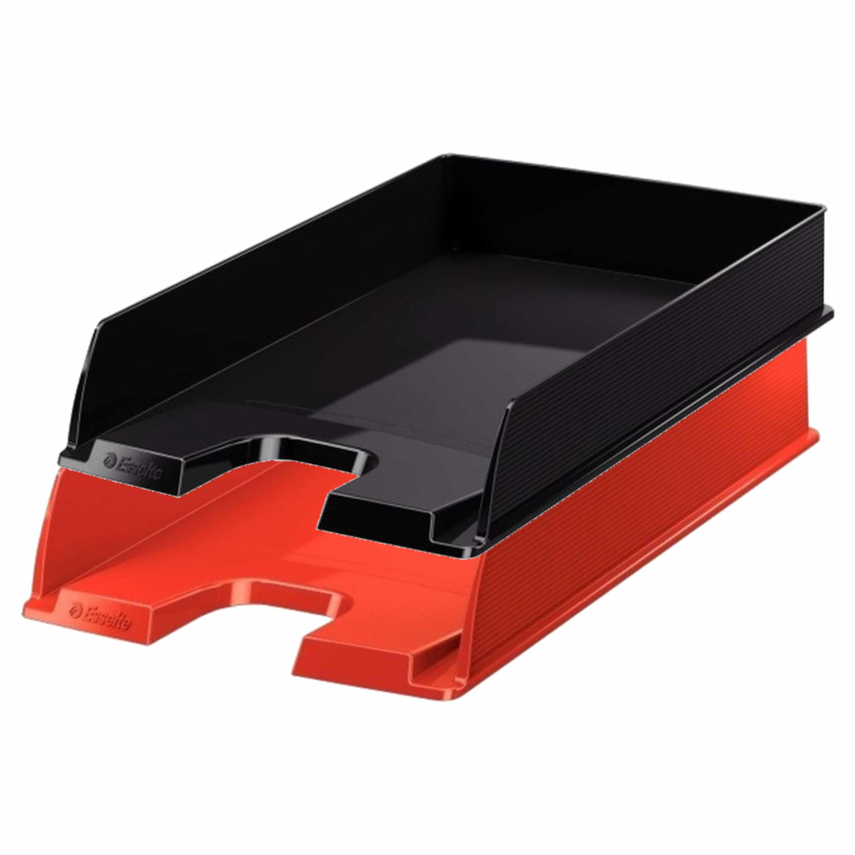 Esselte postbakjejes set van 6x zwart en 2x rood in a4 formaat