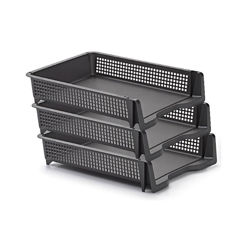 Pakket van 12x stuks postbakjejes/postbakjes/documentenbakjes antraciet grijs a4 formaat