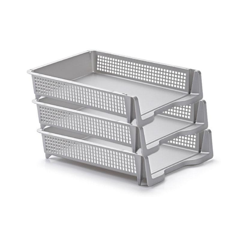Pakket van 12x stuks postbakjejes postbakjes documentenbakjes zilver a4 formaat