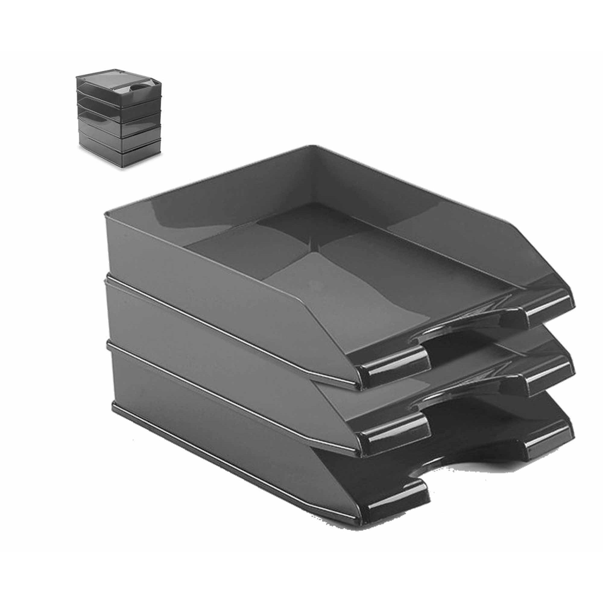 Pakket van 3x stuks postbakjejes zwart a4 formaat