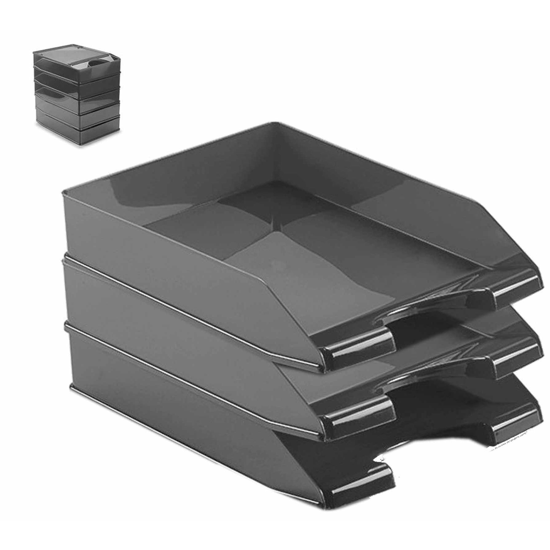 Pakket van 4x stuks postbakjejes zwart a4 formaat