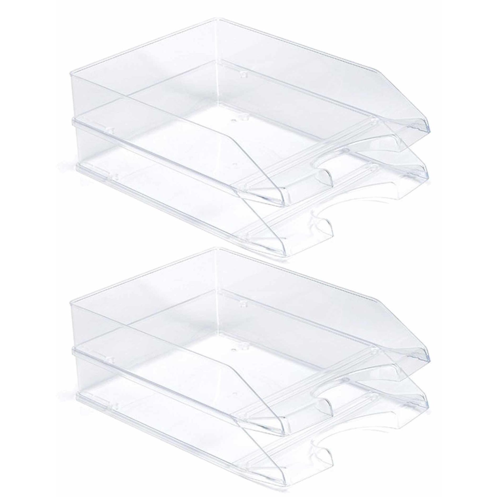 Pakket van 6x stuks postbakjejes transparant a4 formaat