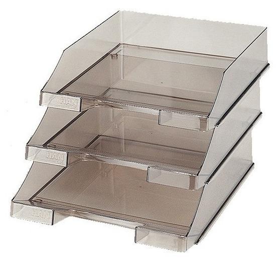 Set van 12x stuks postbakjeje transparant rookgrijs a4 formaat han
