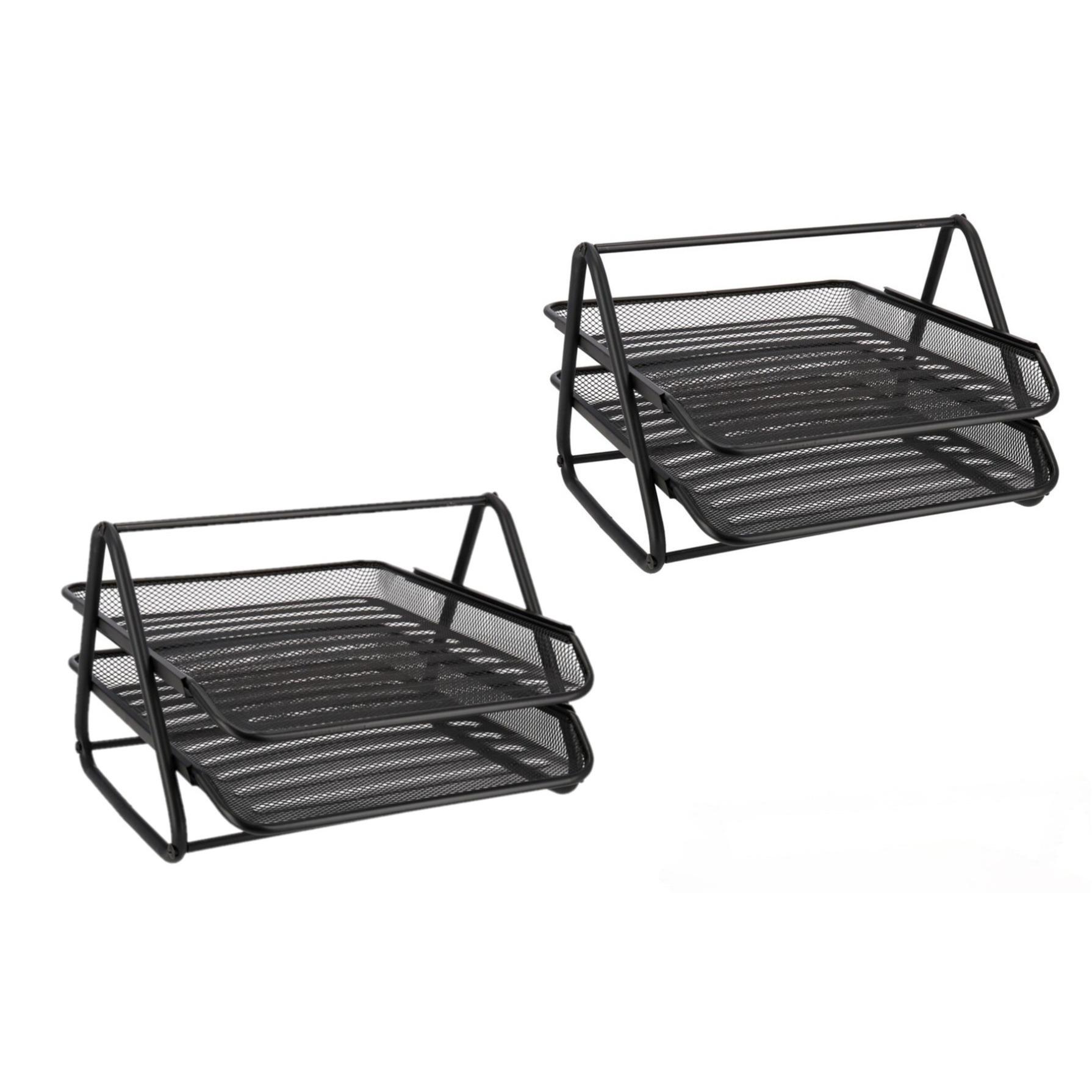 Set van 2x stuks postbakjeken postbakken sorteerrek van draadmetaal zwart 34 x 29 cm